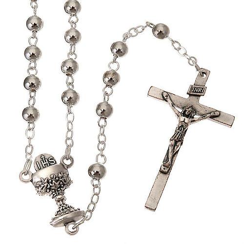 Chapelet première communion, perles argentées 1