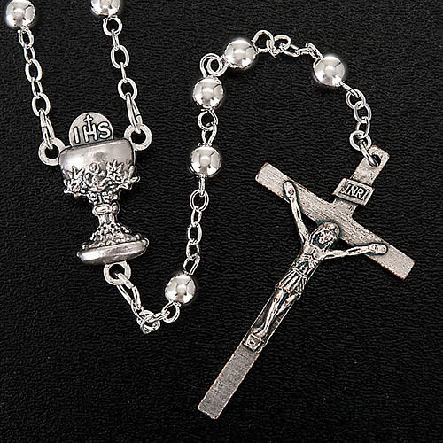 Chapelet première communion, perles argentées 4