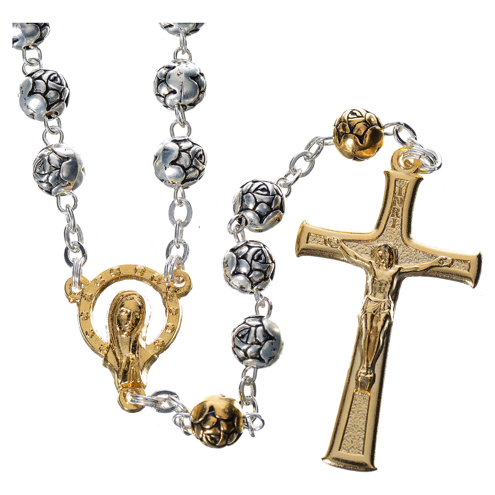 Rosary beads in silver metal with roses 4