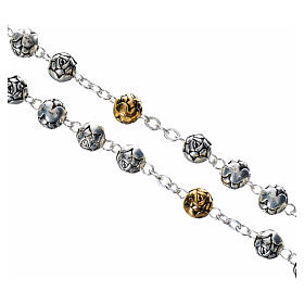 Rosary beads in silver metal with roses s3