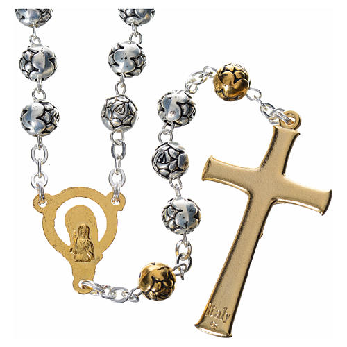Rosary beads in silver metal with roses 2