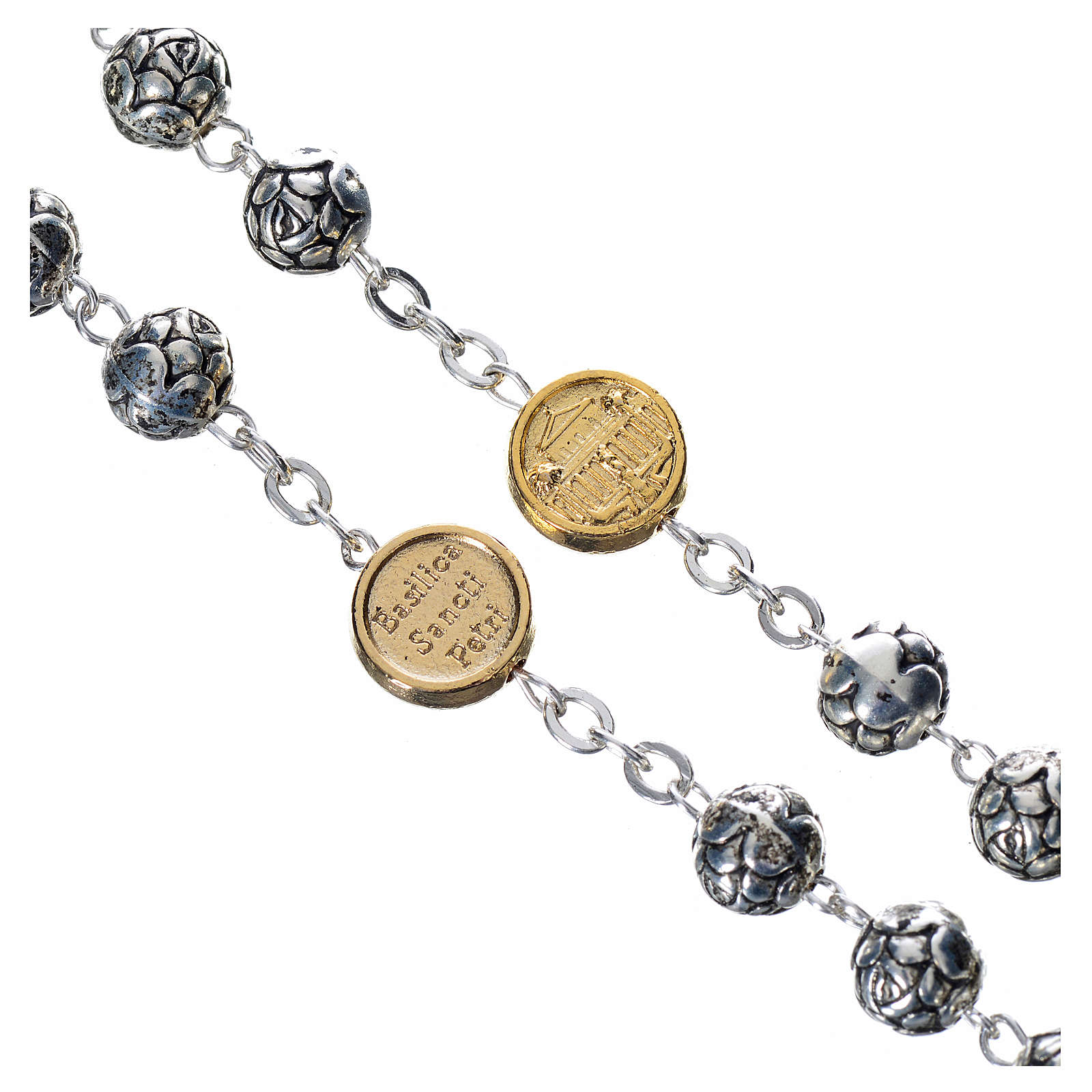 Rosary beads, Pope Francis with metal roses 4