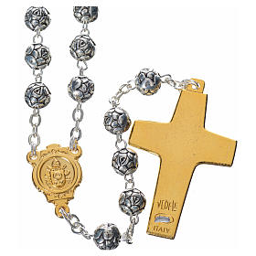 Rosary beads, Pope Francis with metal roses s2