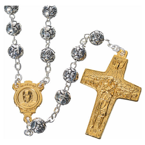 Rosary beads, Pope Francis with metal roses 1
