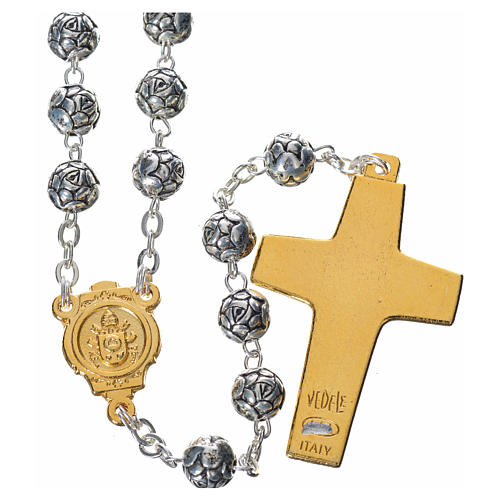 Rosary beads, Pope Francis with metal roses 2