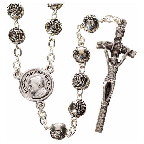 Rosario Giovanni Paolo II roselline metallo 1