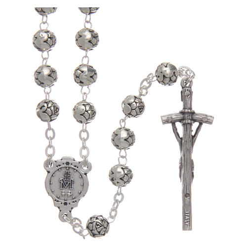 Rosary beads in metal with roses and pastoral cross 2