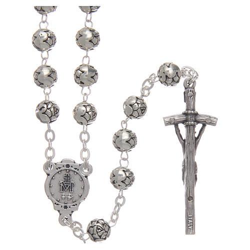 Chapelet métal petites roses croix pastorale 2