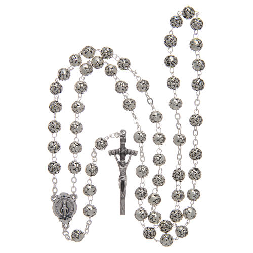 Rosary beads in metal with roses and pastoral cross 4