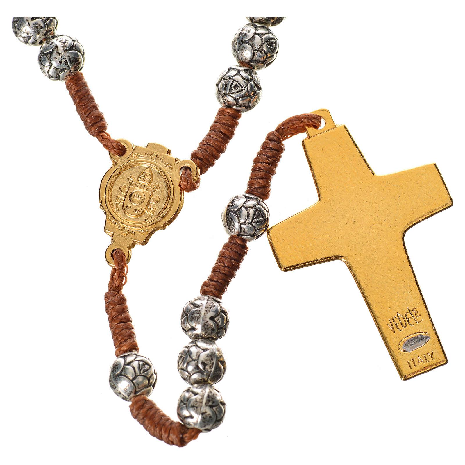 Chapelet Pape François grains en forme de rose sur corde 4