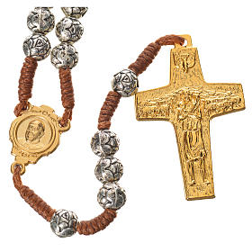 Chapelet Pape François grains en forme de rose sur corde s1
