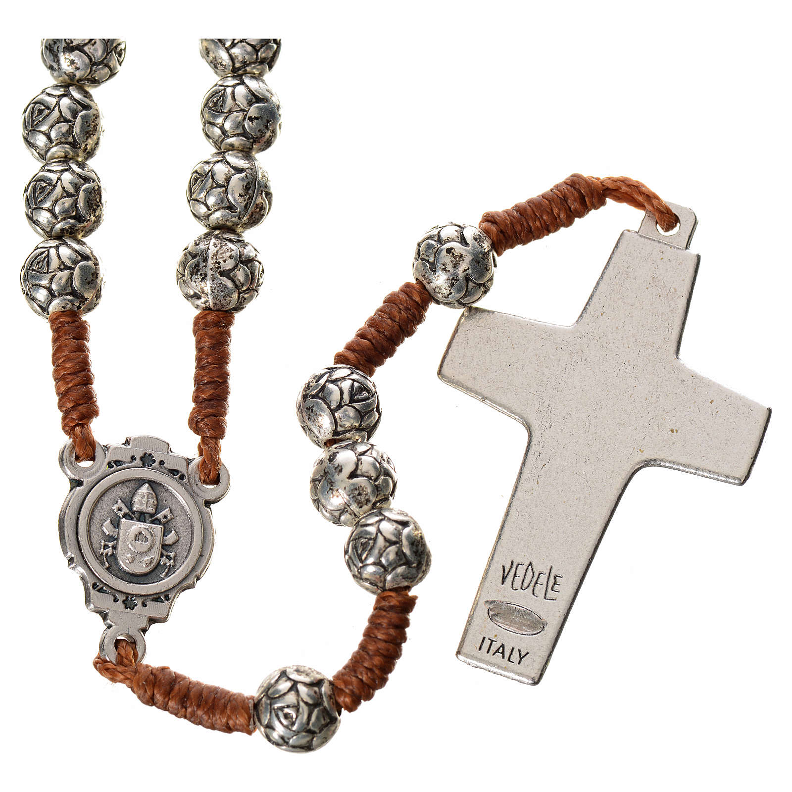 Rosary beads in metal, Pope Francis with roses and cord 4