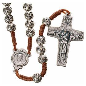 Różaniec metal Papież Franciszek różyczki połączenie sznurkowe s1