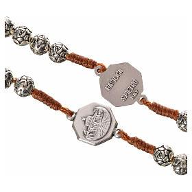 Różaniec metal Papież Franciszek różyczki połączenie sznurkowe s3