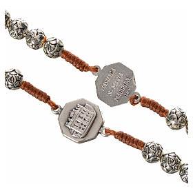 Różaniec metal Papież Franciszek różyczki połączenie sznurkowe s4