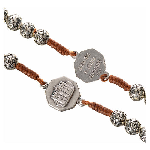 Różaniec metal Papież Franciszek różyczki połączenie sznurkowe 4