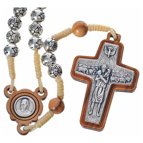 Chapelet en bois naturel et métal Pape François 1