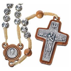 Różaniec metal drewno Papież Franciszek s1