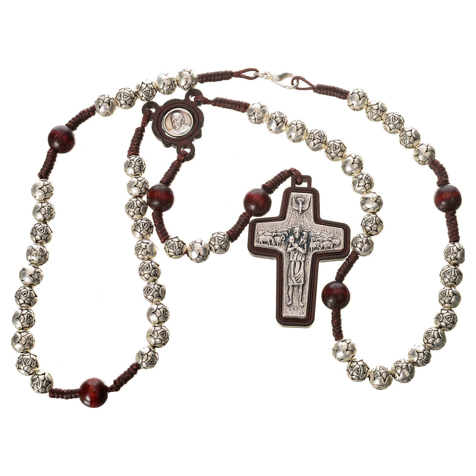 Rosary beads in metal and dark wood, Pope Francis 4