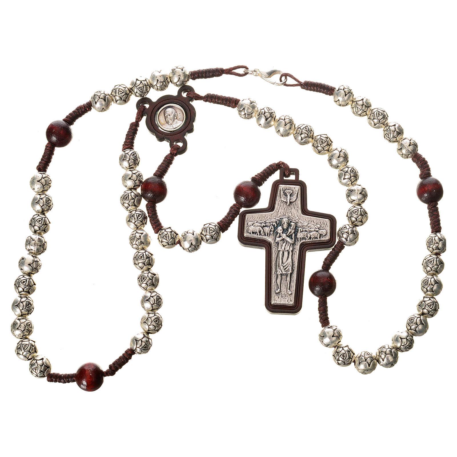 Chapelet en bois foncé et métal Pape François 4