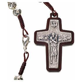 Chapelet en bois foncé et métal Pape François s3