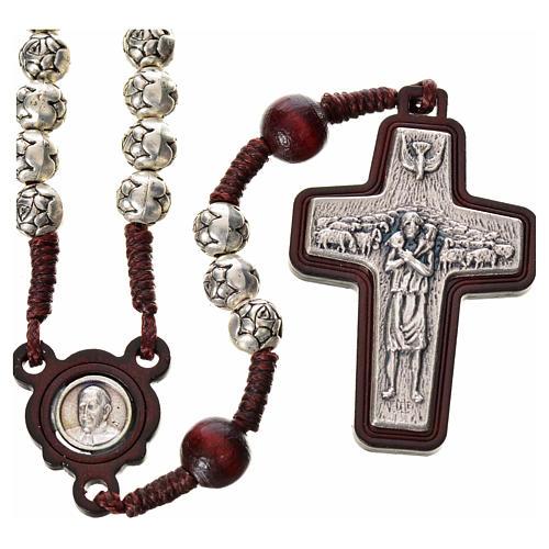 Chapelet en bois foncé et métal Pape François 1