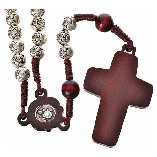 Chapelet en bois foncé et métal Pape François 2