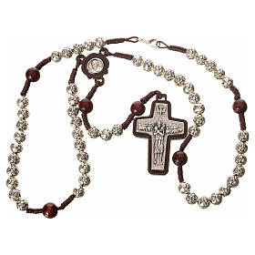 Rosary beads in metal and dark wood, Pope Francis s4