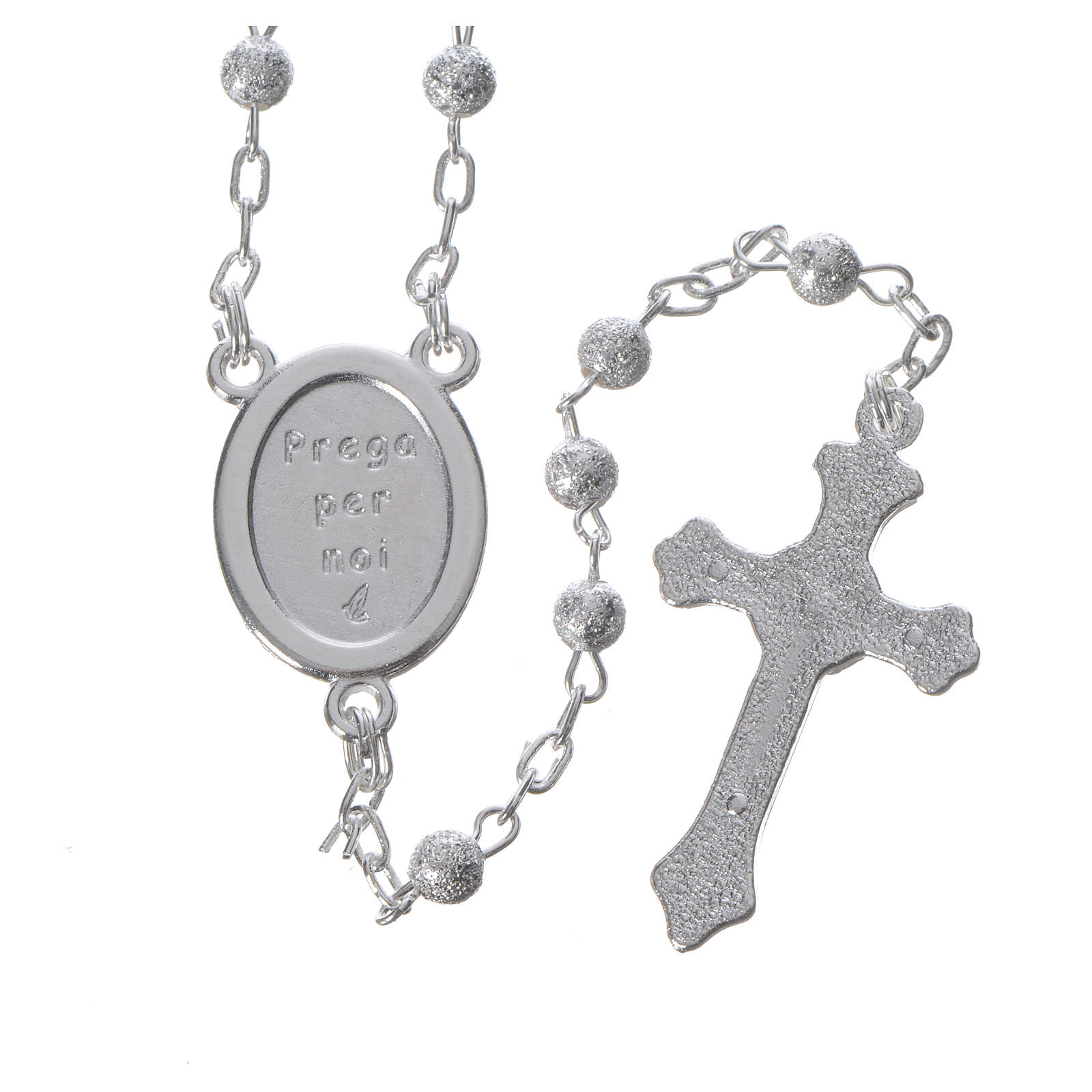Rosary Beads In Satin Metal With Jubilee Of Mercy Symbol 4mm