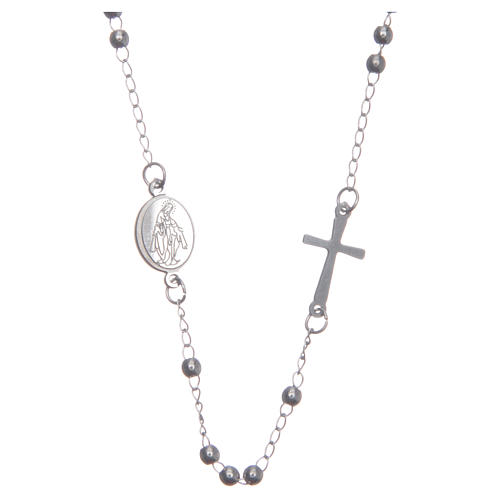 Rosary choker silver colour 316L steel 1