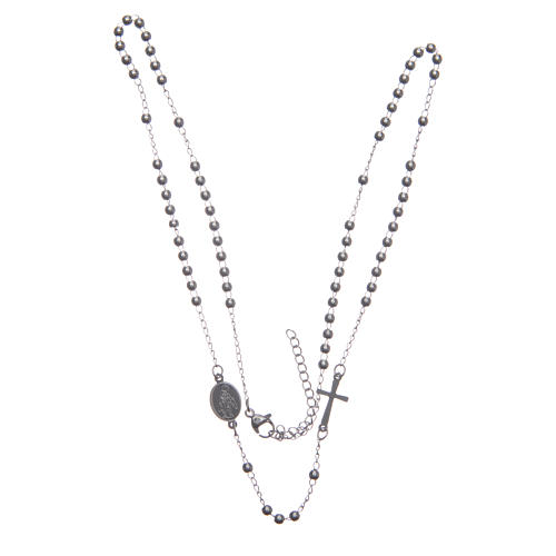 Rosary choker silver colour 316L steel 3