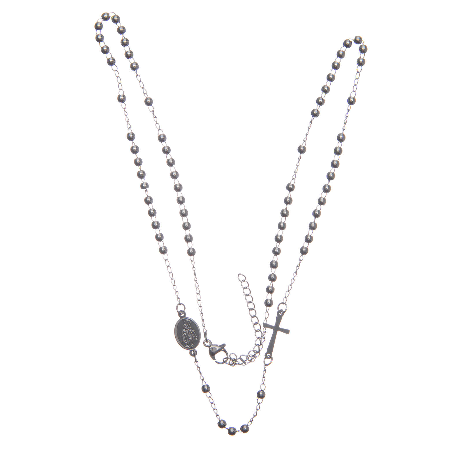 Rosario collar cuello redondo color plata de acero 316L 4