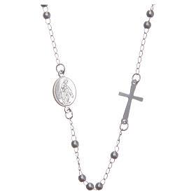 Rosario collar cuello redondo color plata de acero 316L s1
