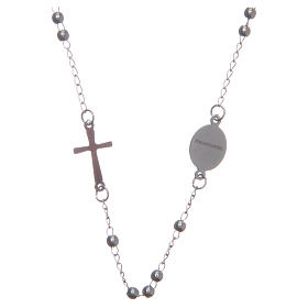 Rosario collar cuello redondo color plata de acero 316L s2