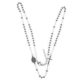 Rosario collar cuello redondo color plata de acero 316L s3
