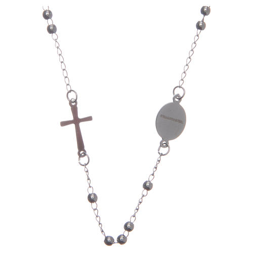 Rosario collar cuello redondo color plata de acero 316L 2