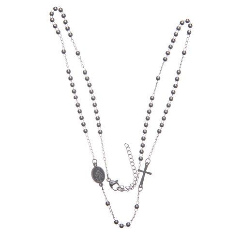 Rosario collar cuello redondo color plata de acero 316L 3
