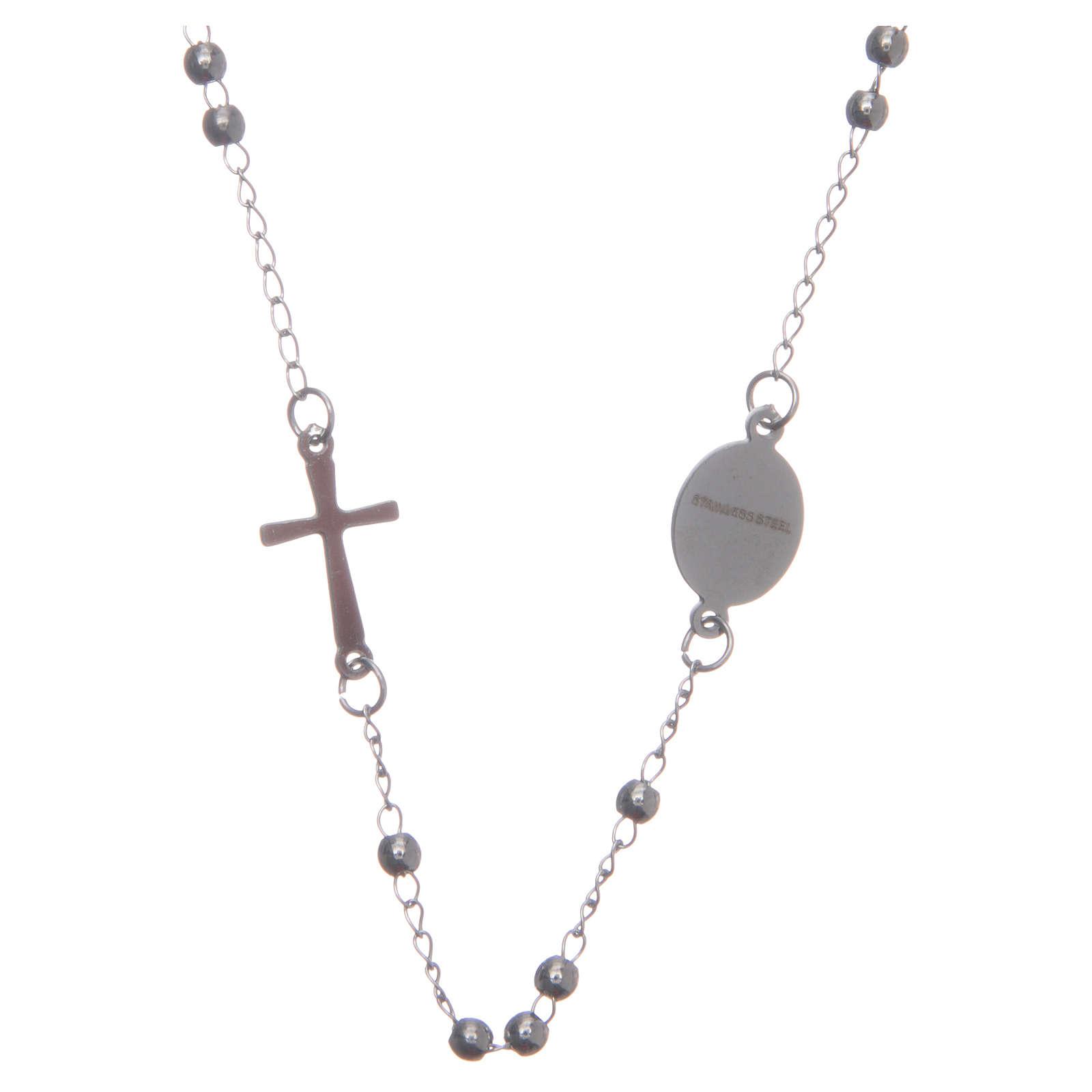Rosary choker silver colour 316L steel 4