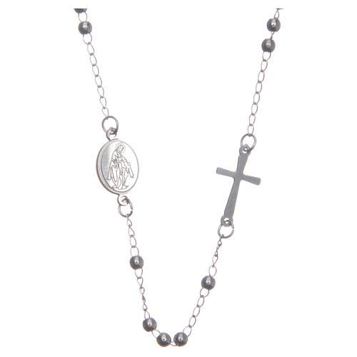 Rosary choker silver colour 316L steel 1