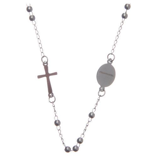 Rosary choker silver colour 316L steel 2
