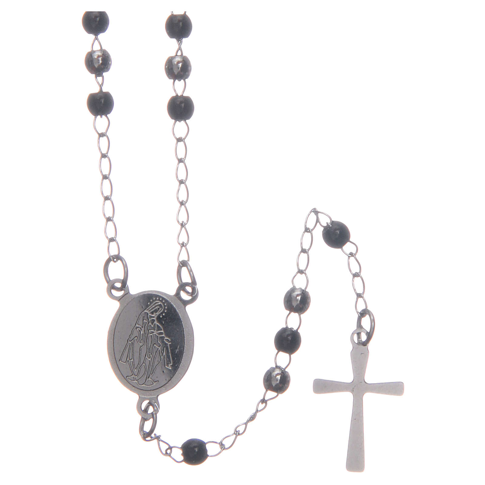 Classic rosary silver and black 316L steel 4