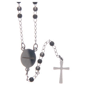 Classic rosary silver and black 316L steel s2
