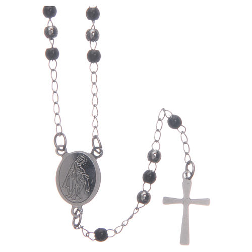 Classic rosary silver and black 316L steel 1