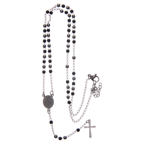 Classic rosary silver and black 316L steel 5