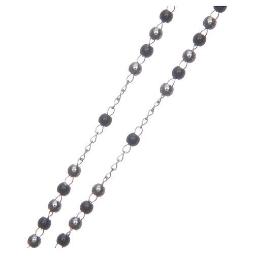 Rosario clásico plata y negro de acero 316L 3