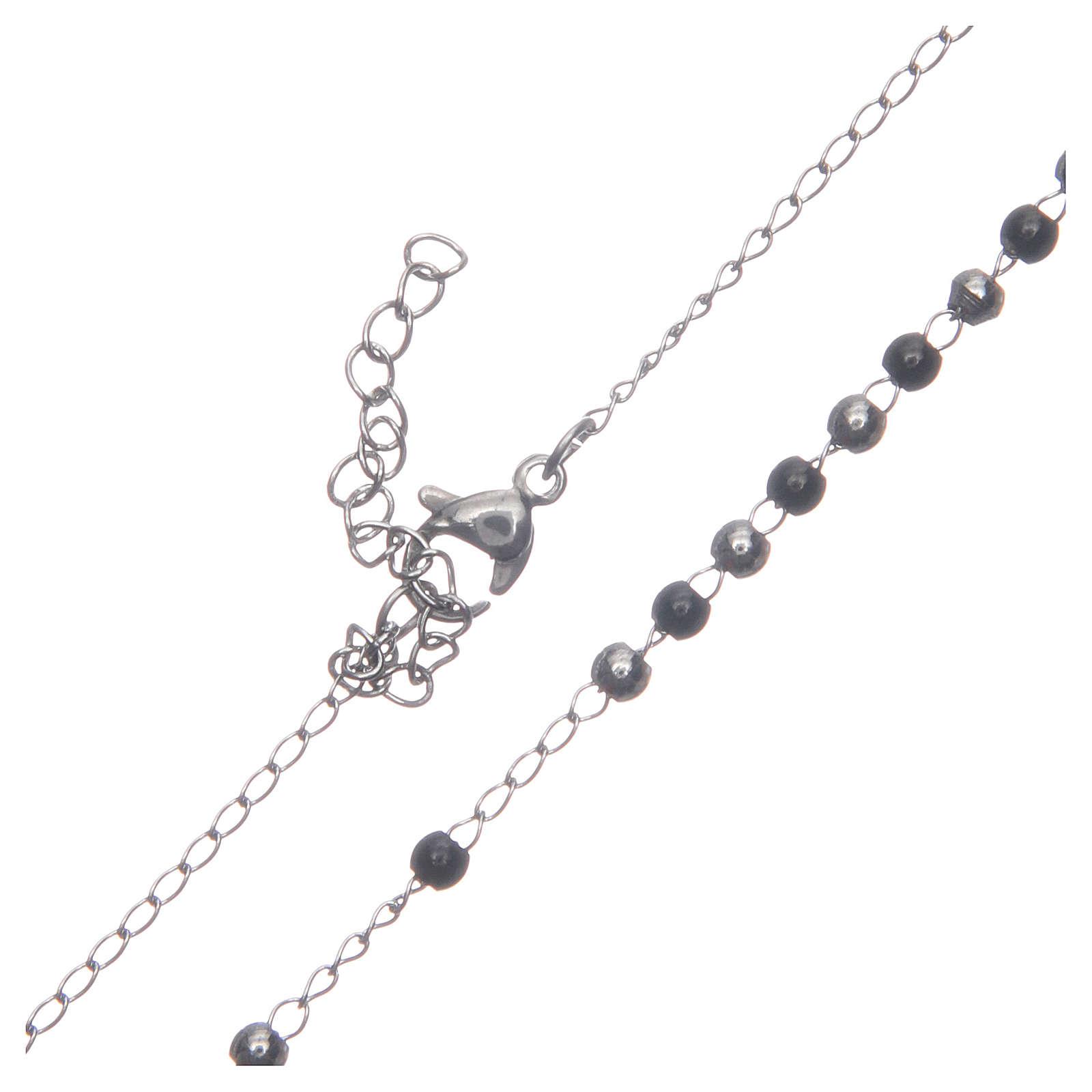 Rosario classico silver nero acciaio 316L 4
