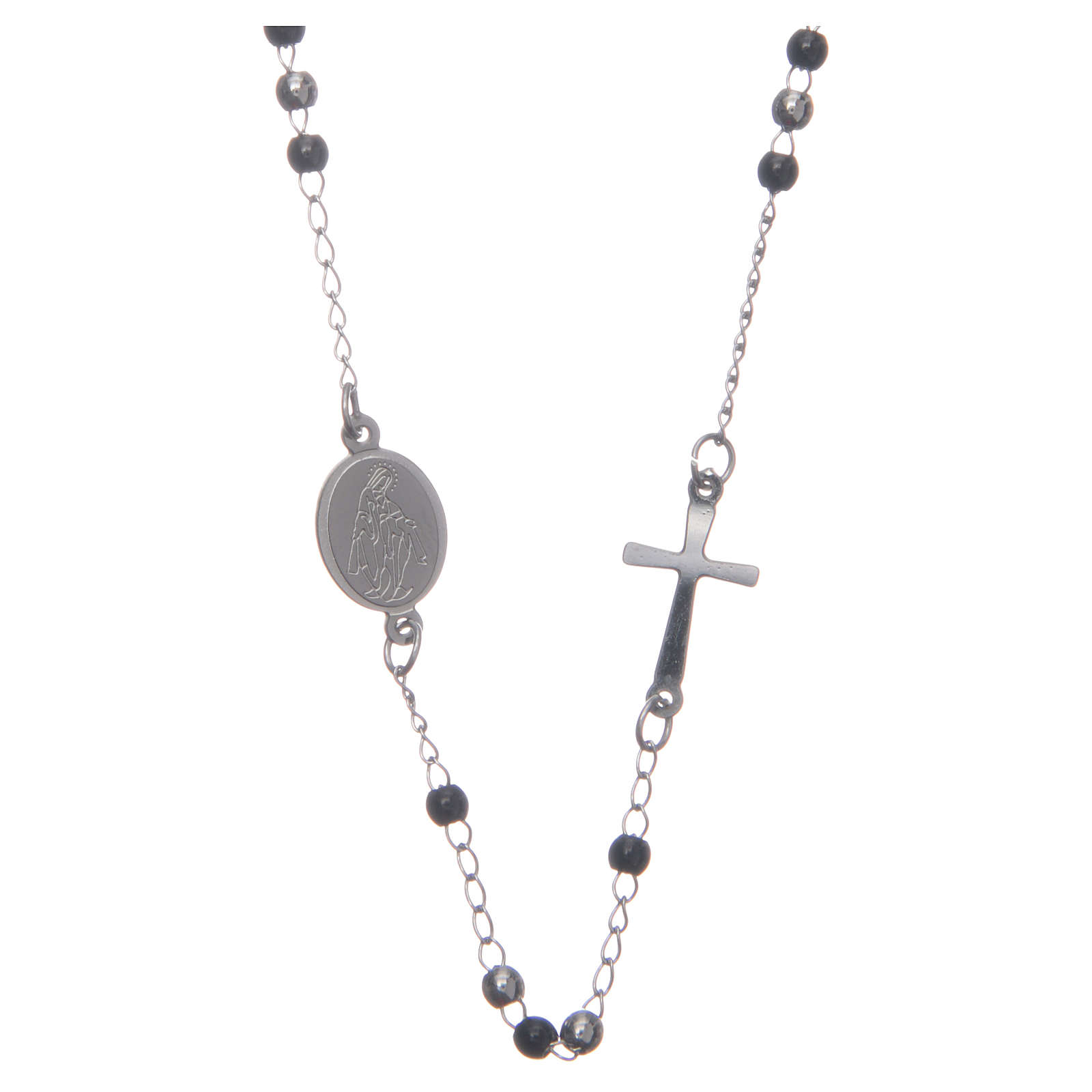 Rosary choker silver and black 316L steel 4