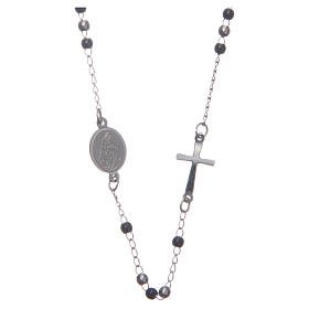 Rosary choker silver and black 316L steel s1