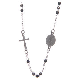 Rosary choker silver and black 316L steel s2
