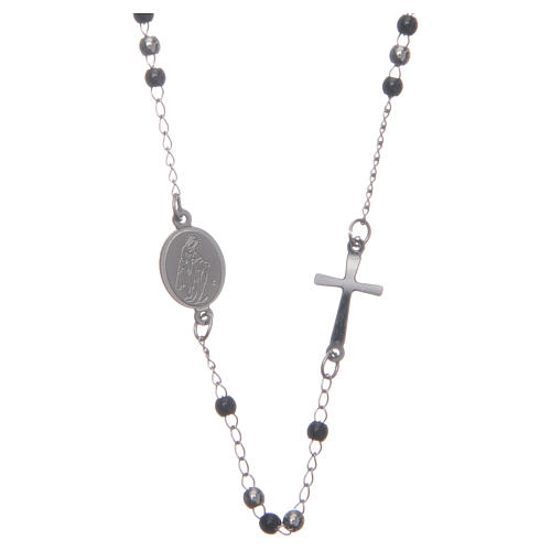 Rosary choker silver and black 316L steel 1